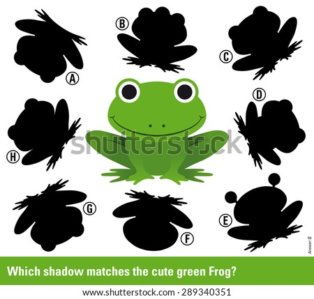 Which shadow - Educational kids puzzle with cute smiling green frog surrounded by variations of shadow shapes to select and match to find a solution, vector illustration - stock vector