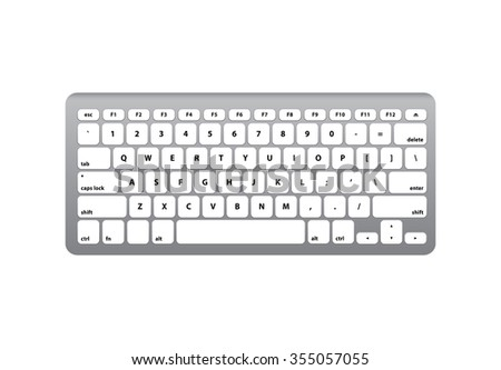 While Silver Keyboard QWERTY - Isolated Vector Illustration