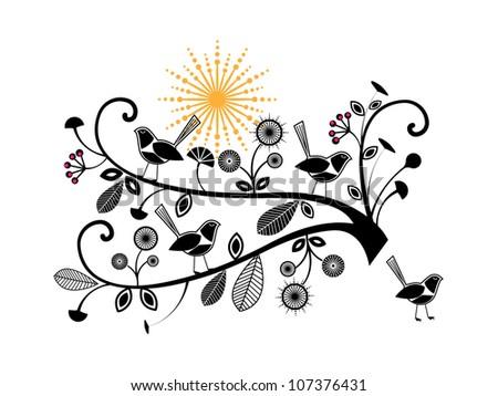 Whimsical birds foliage and sunshine - stock vector
