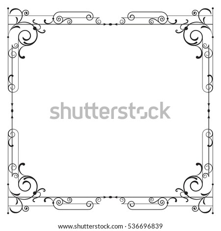 Whimsical black square frame with vignettes.
