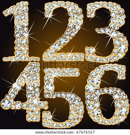 Whimsical characters of diamonds in a golden ingot - stock vector