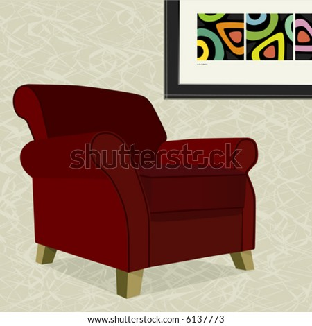 Whimsical comfy overstuffed armchair with abstract painting. Chair can be used without background. - stock vector