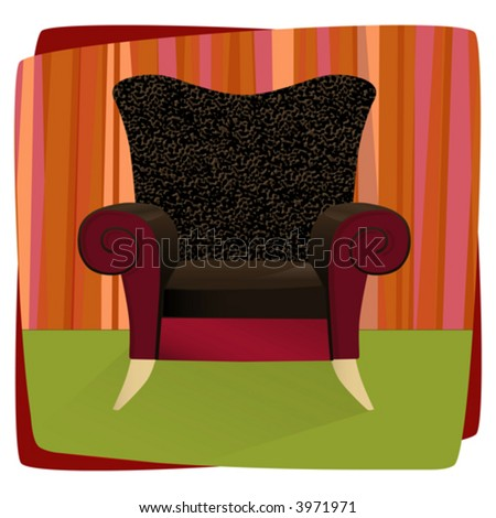 Whimsical comfy overstuffed chair with leopard print velvet. Chair can be used without background. - stock vector