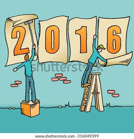 Whimsical drawing to bring in the 2016 new year - stock vector