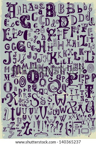 Whimsical Hand Drawn Alphabet Letters Most Stock Vector