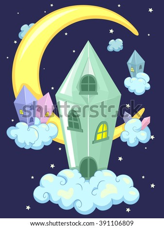 Whimsical Illustration of a Crystal House Framed by the Night Sky