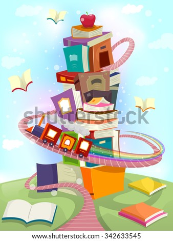 Whimsical Illustration of a Toy Train Circling Around a Tower of Books - eps10 - stock vector