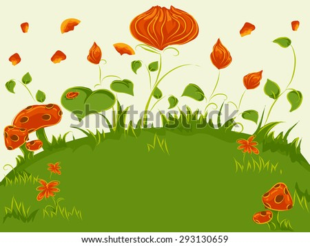 Whimsical Illustration of Colorful Plants in the Middle of a Grassland