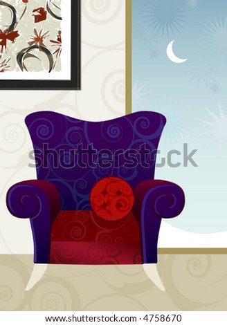 Whimsical Overstuffed Armchair Winters Evening. Easy-edit layered file. - stock vector