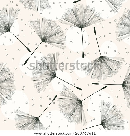 Whimsical pattern with flying dandelions on a light background - stock vector