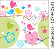 Whimsical seamless background in green, blue yellow and pink with cute birds, flowers and hearts. - stock vector