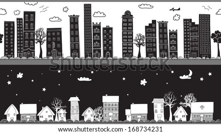 Whimsical Seamless Borders/Headers - Two monochrome seamless borders, urban and rural, city and country, day and night, with high rises and cottages; hand drawn, doodle style illustration   - stock vector
