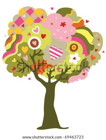 Whimsical tree of love filled with hearts instead of fruits. - stock vector