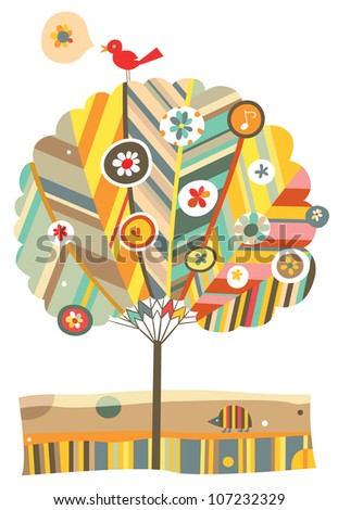 Whimsical tree with floral and animal elements. - stock vector
