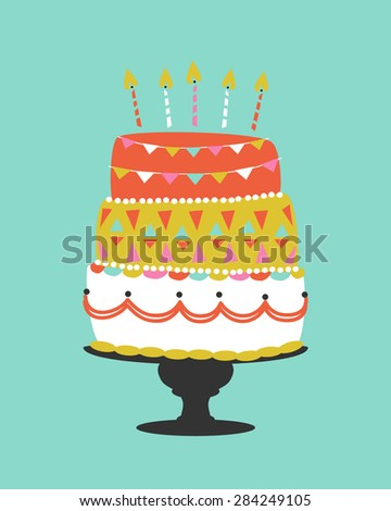 Whimsical Vector Birthday Cake