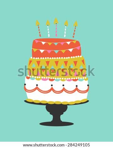 Whimsical Vector Birthday Cake - stock vector