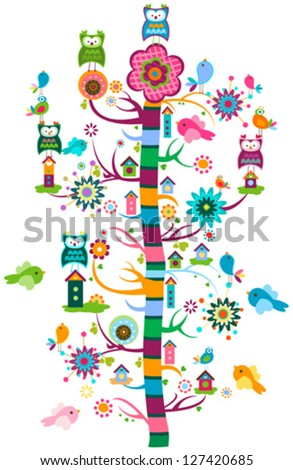 whimsy garden with birds and tree - stock vector