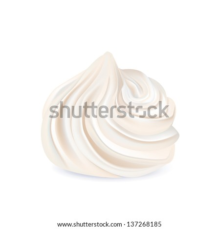 whipped cream swirl isolated on white background - stock vector