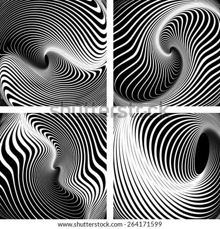 Whirlpool movement. Op art backdrops set. Vector art. - stock vector