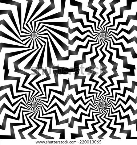 Whirlpool, spiral, spire, vortex background set - stock vector