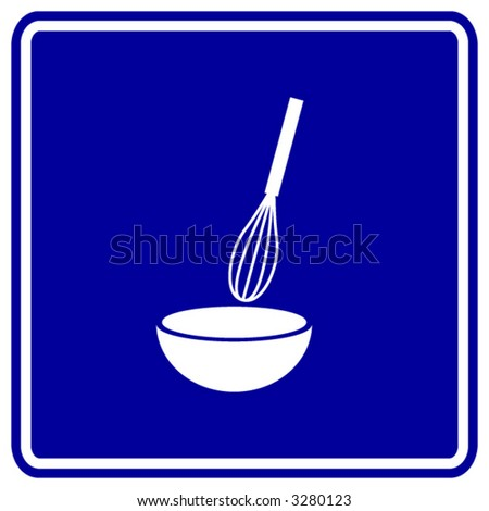 whisk and bowl mixing symbol - stock vector