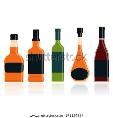 Whiskey bottle set. vector illustration - stock vector