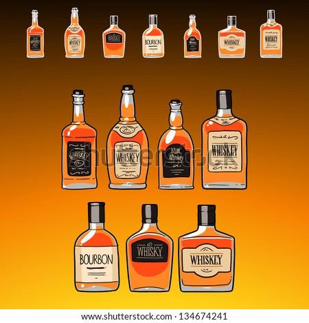 whiskey bottles set  on the dark amber background - stock vector