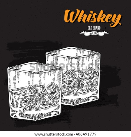 Whiskey drink. Hand drawn two glasses of whiskey. Engraving style. Vector illustration