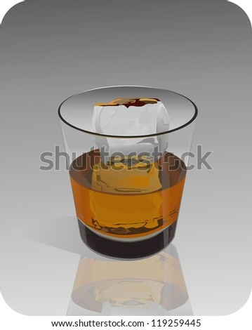 Whiskey in glass with ice.Vector - stock vector