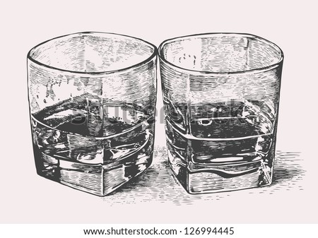 Whiskey in two glasses  engraved retro style  vector illustration    Whiskey Barrel Drawing