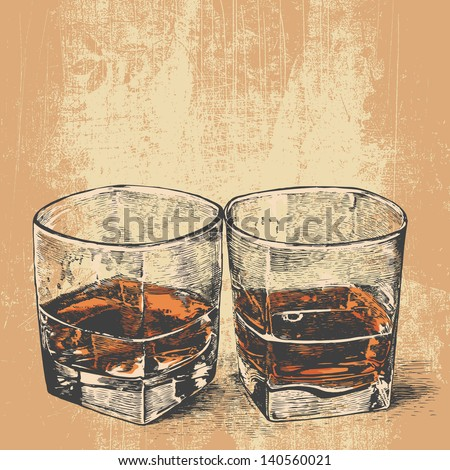 Whiskey in two glasses. engraved retro style. vector illustration - stock vector