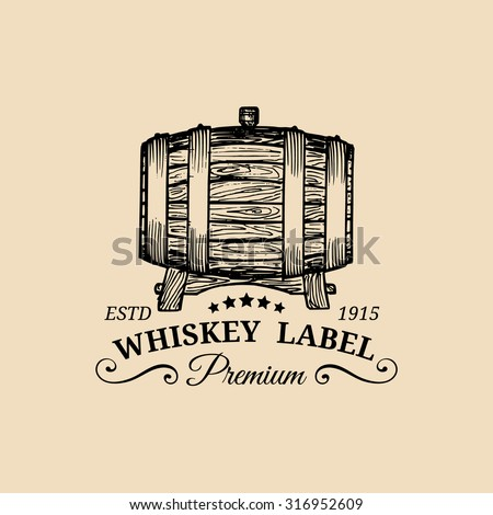 Whiskey logo. Vector whisky sign with wooden barrel. Typographic label, badge with hand sketched keg. - stock vector