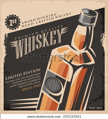 Whiskey vintage poster design template. Retro drink creative  promotional ad concept. Vector flyer or banner background layout. No gradients or effects, just fill colors. Old paper texture. - stock vector