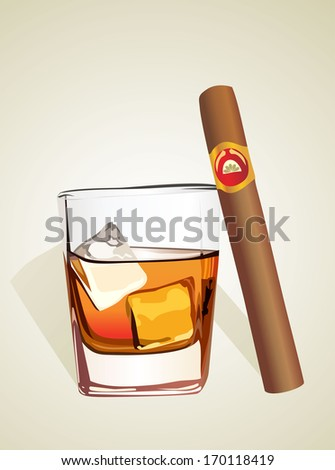 Whiskey with ice cubes and cigar - stock vector