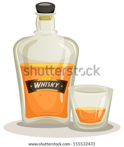 Whisky Bottle And Glass/ Illustration of a cartoon whisky bottle and glass for alcohol and beverage backgrounds - stock vector