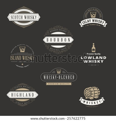 Whisky Hipster Logo design vector typography lettering templates. Bar Whiskey Retro Vintage Labels for Scotch, Bourbon. - stock vector