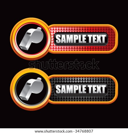 whistle on diamond textured banners - stock vector