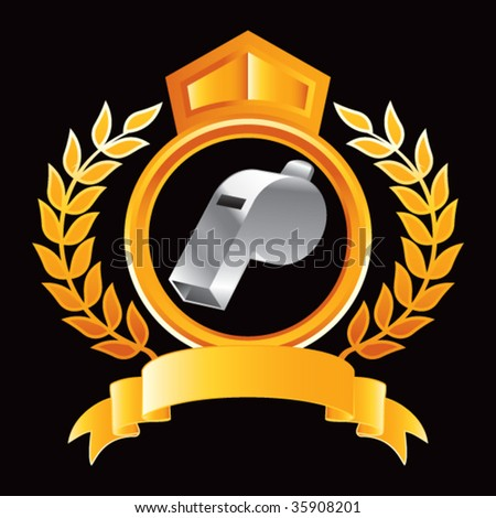 whistle on gold royal crest - stock vector