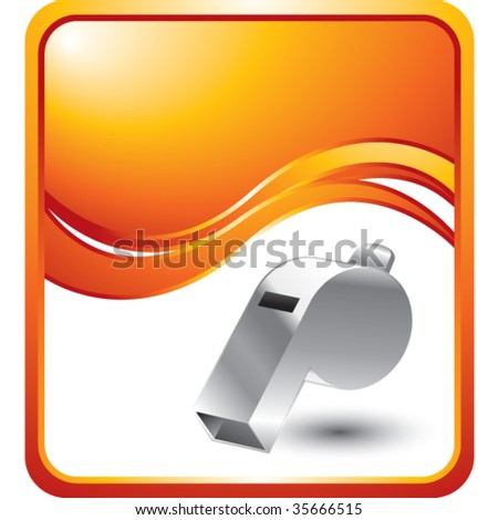 whistle on orange wave background - stock vector