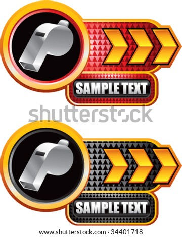 whistle on shiny arrow banners - stock vector