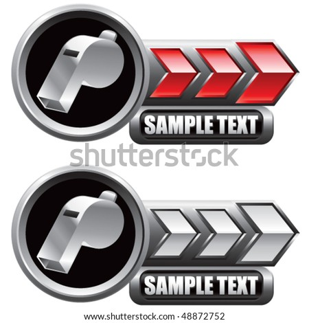 whistle red and white arrow nameplate banners