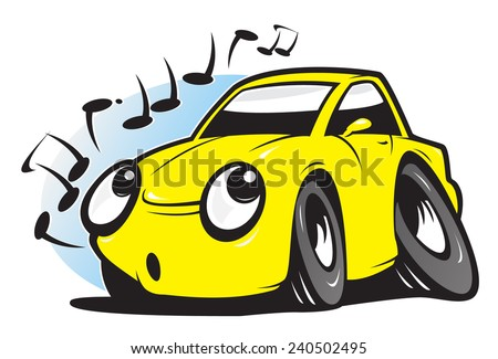 Whistling cartoon car - stock vector