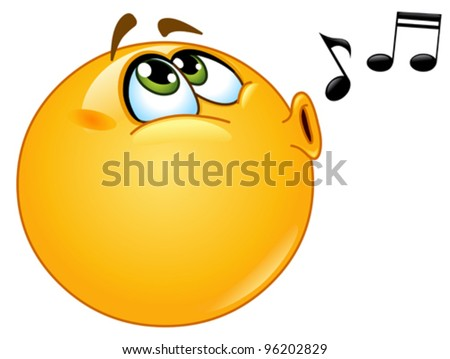 Whistling emoticon - stock vector