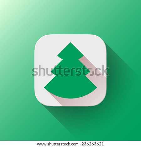 White abstract app icon, button template with green Christmas tree sign, flat designed shadow and gradient background for web sites, user interfaces, UI and applications, apps. Vector illustration. - stock vector
