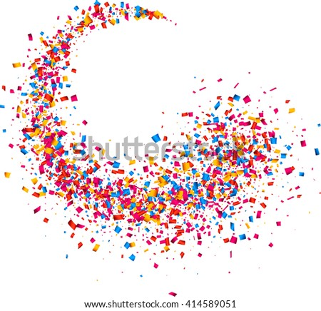 White abstract background with color confetti. Vector illustration. - stock vector