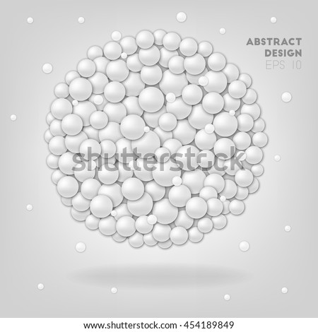 White abstract circles in sphere, vector background in 3d style