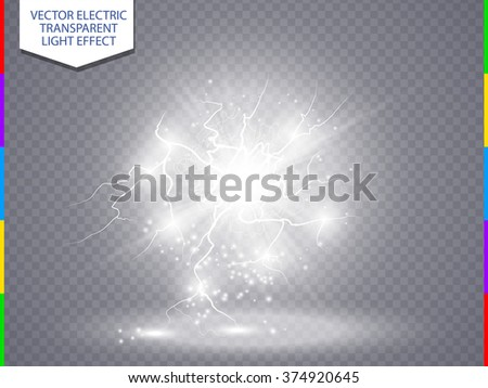 White abstract energy shock explosion special light effect with spark. Vector glow power lightning cluster. Electric discharge on transparent background. High voltage charged core - stock vector