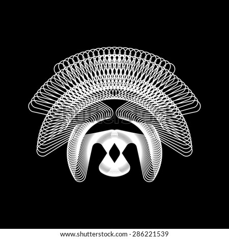 White abstract fractal shape with black background for design concepts, web, prints, posters. Vector illustration. - stock vector