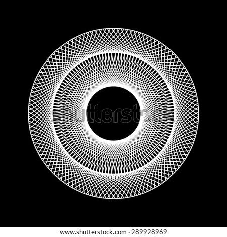 White abstract fractal shape with black background for logo,  design concepts, posters, banners, web, presentations and prints. Vector illustration. - stock vector