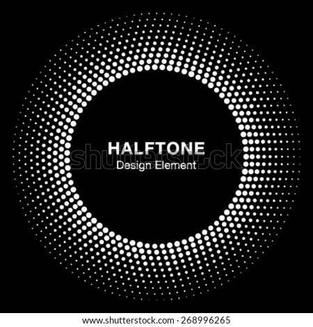 White Abstract Halftone Circle Logo Design Element, vector illustration   - stock vector